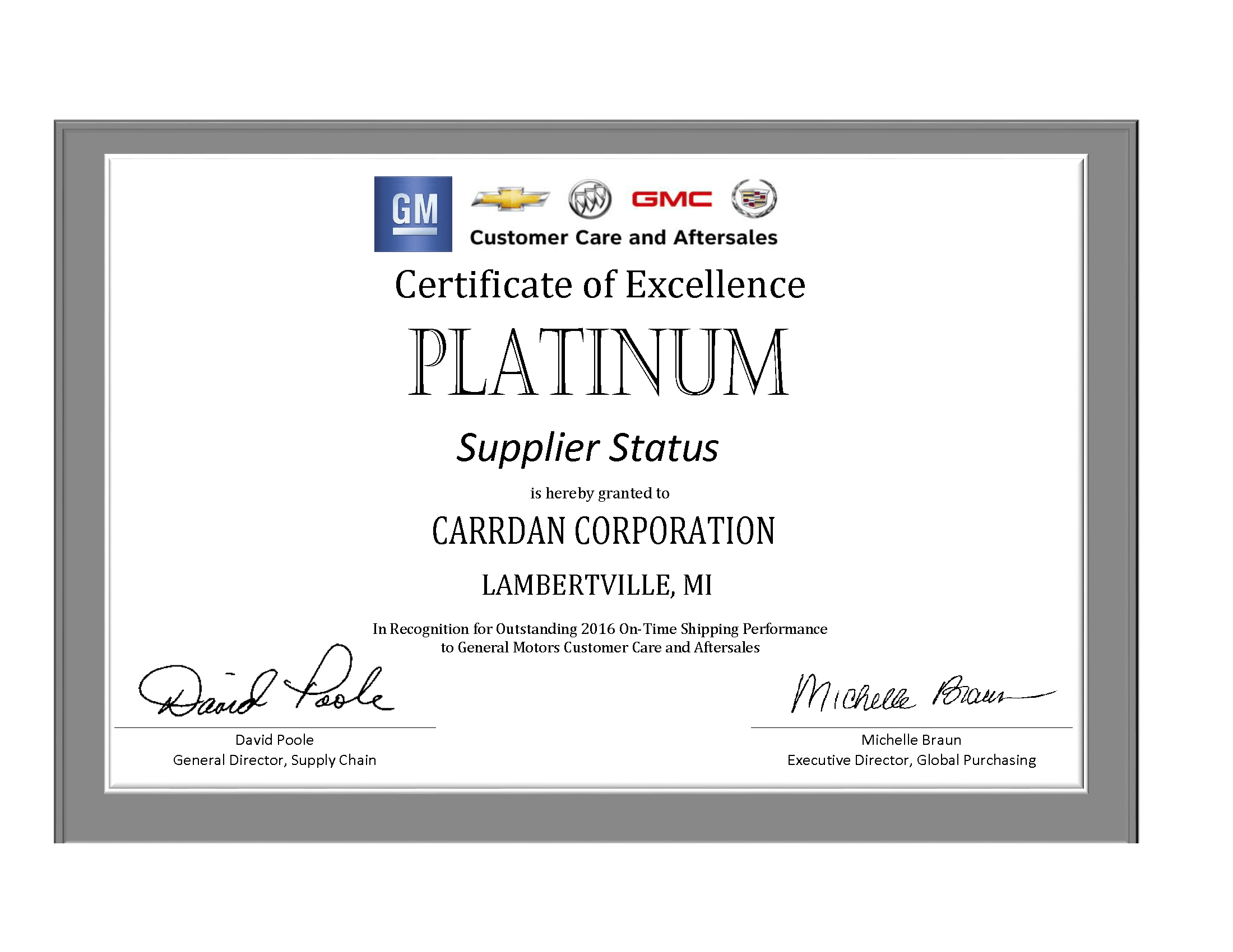 2016 GM Platinum Supplier Certificate